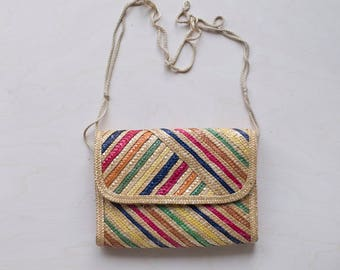 rainbow straw clutch cross body bag