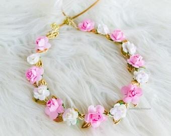 Pink White Spring Easter Flower Crown Newborn Crown Royalty Newborn Tiara Newborn Photo Bride Accessories Bridal Crown