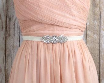 Rose Gold Rhineston with Ivory Elastic Belt, Rose Gold Jewel Belt, Ivory Velvet Eastic Belt with Rhinestone,Wedding Belt, Bridesmaid Belt