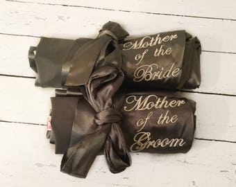 Set of 2 Mother of the Bride Mother of the Groom Wedding Party Satin Robe Monogrammed, wedding, personalized silk, kimono - Bridal