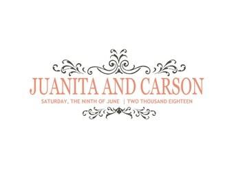 Elegant Wedding Logo. Wedding Monogram.  Coral Wedding.  Modern Elegant Logo.  Coral and Charcoal Wedding. Digital File
