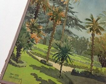 Vintage 1937 watercolour palm trees French Riviera souvenir south France