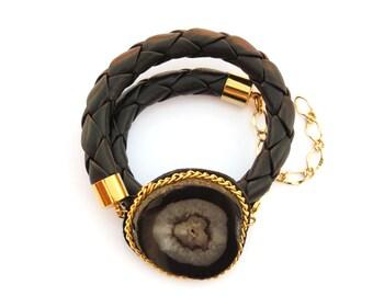 Black Druzy Leather Wrap Bracelet, Druzy Bracelet, Gemstone Bracelet, Black Leather Bracelet, Boho Wrap Bracelet, Leather Braided Bracelet