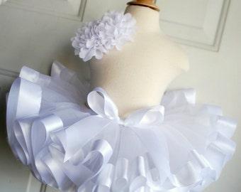 White Ribbon Trimmed Tutu - White Tutu - Winter Tutu - White Ribbon Tutu - White Skirt - Toddler Tutu - Baby Tutu - Winter Birthday - Tutu