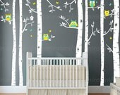 Birch Tree Decal with Owls   Birch Tree Wall Decal   Baby Nursery, Children's Room Interior Designs   Easy Application 080