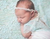 Baby Headband, Baptism Headband, Baby Girl Headband, Newborn Photo Prop Headband, White Headband, Flower Girl, Christening Headband, Lace