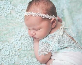 Baby Headband, Baptism Headband, Baby Girl Headband, Newborn Photo Prop Headband, White Headband, Flower Girl, Christening Headband, Lace