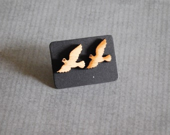 Wood Bird Earrings : Flying Dove Studs