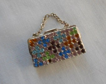 Vintage rhinestone purse brooch. Monet.  Ladies pin.