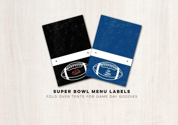 Super Bowl Menu Labels - Game Day fold over tent labels - INSTANT DOWNLOAD