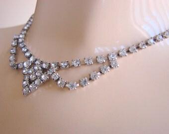 Vintage Rhinestone Necklace Mid Century 1950s 1960s Prong Set Wedding Bridal Jewelry Jewellery
