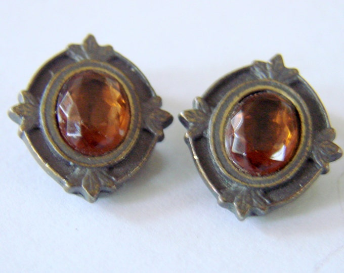 Vintage Faceted Topaz Glass Clip Earrings Bronze Patina Jewelry Jewellery