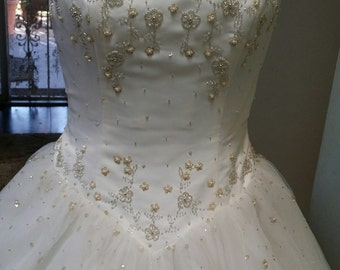 Vintage Ivory Wedding Dress, beaded Vintage Prom dress, Beaded bodice ivory bridal dress,Ivory XV dress,Prom Ivory dress,Ivory,Bridal dress