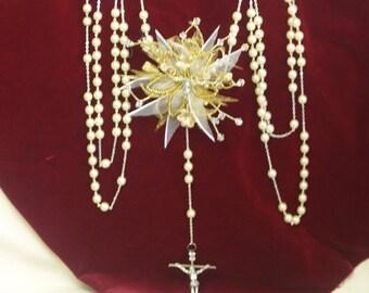Gold Wedding Lasso Champagne Glass Pearls Traditional united Rosaries handmade adornment center, lazo de boda, wedding tradition