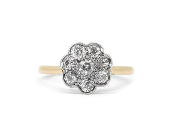 The Deco Daisy Ring - 18ct Gold Diamond Cluster Ring