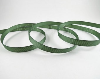 "Dark Olive Green Ribbon - Old Willow - Grosgrain - You Choose Length & Width -  Bow, Scrapbooking, Sewing, Craft Supply - 3/8""  7/8""  1 1/2"""