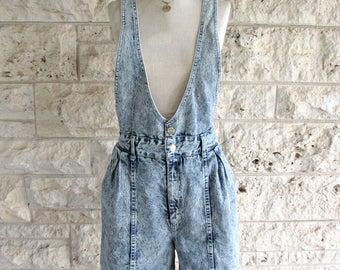 Vintage 90s Overalls Shots Acid Washed Women's Shortalls Small Blue Bib Overalls 90's Galaxy Jeans Denim Pinafore