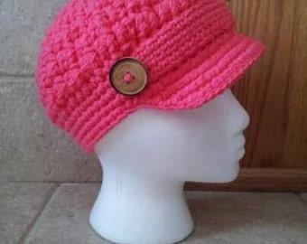 Newsboy Hat, Crochet Newsboy Hat, Knit newsboy cap,  Womens Hat, button, pink, hot pink