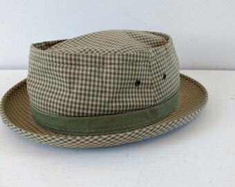 Vintage 1960s 1970s hat, men's check hat, vintage summer trilby