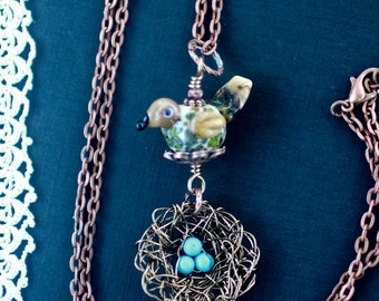 Necklace, Bird Nest Necklace, Bird Nest Pendant, Lampwork Bird Bead, Bird Jewelry, Antique Copper, Glass Bird Bead, Robins Egg