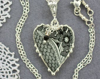 Necklace, Broken China Jewelry, Broken China Necklace, Heart Pendant, Black Transferware, Sterling Silver, Soldered Jewelry