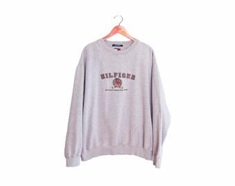 vintage sweatshirt / Tommy Hilfiger / oversize / 1990s Tommy Hilfiger embroidered sweatshirt XL