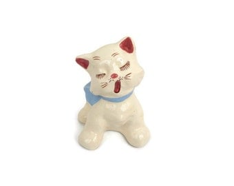 Antique Cat Figurine Ceramic Kitten Yawning Sleepy Vintage Cat Statue Made in Japan Hand Painted