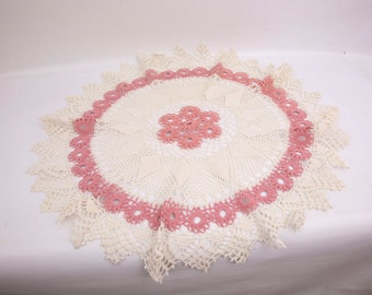 Vintage Crochet Lace Round Doily Ecru Pink Flowers Diamonds Pointed Edges Hand Crocheted Table Topper Table Cover Centerpiece