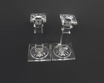 Antique Lead Crystal Candlesticks Square Column Pillar Glass Candle Holders