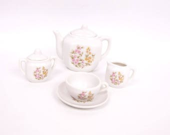 Vintage Childrens Tea Set Japan Hand Painted Floral Miniature Tea Set Pastel Flowers Tea Party