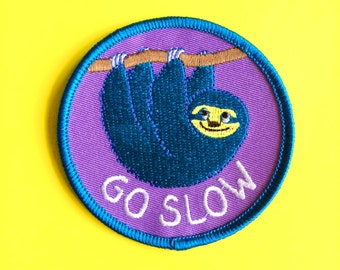Go Slow Patch, Sloth Patch, Cute Hygge Patch, Animal Patch, Sleepy Patch, Iron On Patches, Embroidered Patch, Funny Patch, Lazy Patch
