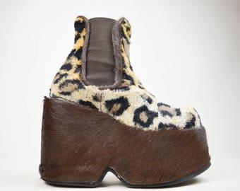 90s Faux Fur Pony Hair Leopard Print Platform Wedge Chelsea Boots UK 3 / US 5.5 / EU 36