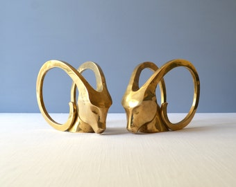 Vintage Modernist Ram Head Brass Bookends