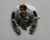 Antique Victorian Scottish Agate & Citrine Silver Horseshoe Thistle Brooch