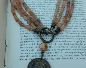 BRONZE FRENCH ROMAN medal vintage assemblage jewelry necklace 4 strand necklace atelier paris on etsy upcycled sunstone one of a kind peach
