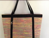Woven Plarn - Yarn Created of Recycled, Upcycled, Repurposed Plastic Bags - Market Tote, Beach Bag, Large Tote in Tan, Red, Yellow, Black