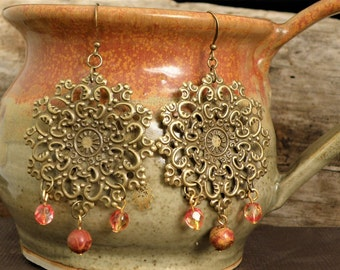 Stone Gypsy Earrings Natural Jewelry Czech Glass Jasper Antique Bronze Boho Chic Hippie Bohemian Vintage Orange Crystal Filigree Earthy