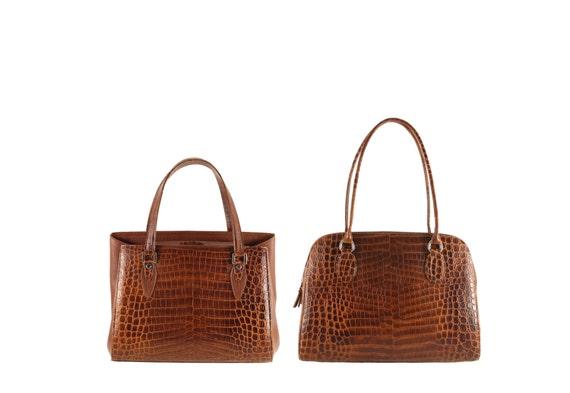 Leather shoulder bag VIVIEN, VALERIA // brown alligator crocodile effect (Italian calf skin) - FREE shipping, unique bag