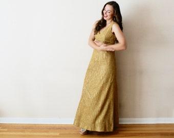 Vintage 60s Gold Evening Gown - Metallic Maxi Dress Empire Waist Sleeveless - MED