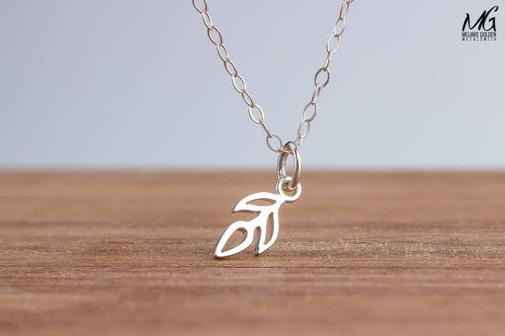 Tiny Leaf Twig Vine Necklace in Sterling Silver