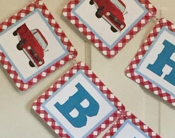 RED TRUCK Happy Birthday Party or Baby Shower Banner Red Teal Baby Blue- Party Packs Available