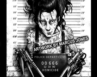 Gothic Art, Edward Scissorhands Mugshot art,  Witchcraft, Occult , Witch , Goth, dark Art, Art Print by Marcus Jones