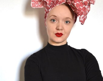 Patty - red and white peppermint swirl Christmas headwrap