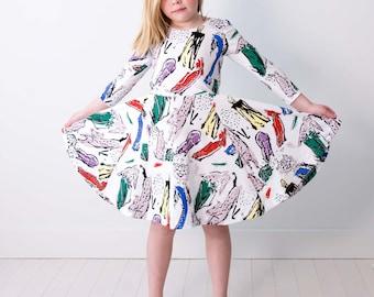 Animal Kingdom Twirling Dress in White - Hand Printed - Organic Dress - Easter Dress - Eco - Slow Fashion - Twirling Dress - Thief&Bandit®