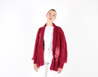 80s MOHAIR + Wool Poet / Bubble Sleeve Fluffy Slouchy Oversized Free Size Maroon / Burgundy Red Cardigan