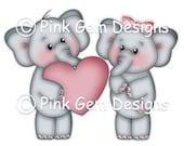 Digi Stamp  'Love Elephants' - Valentines Day/Engagement/Wedding Anniversary