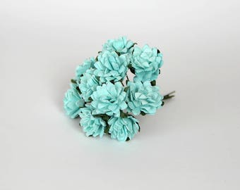 50 pcs - Turquoise asters paper flowers - Wholesale pack