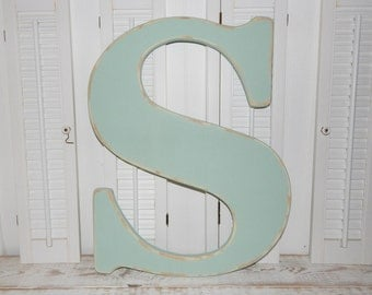 Large Wooden Letter S Or Any Letter Distressed 23.5 Inch Wood Letters Choose Letter & Color