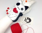 Kitty Cat Pincushion, cat wrist pincushion, wristband pincushion, felt pincushion, sewing accessory, seamstress tool, needle cushion, pins