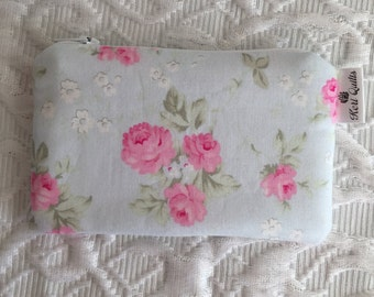 Rose Trio Coin Purse, Zipper Pouch, Change Purse, Wallet, Blue, Pink, Rose, Flower, Floral, Leaves